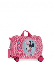 Valigia per bambini Minnie 2 ruote multidirezionali.