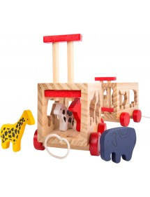 Trenino in legno con animali incastro