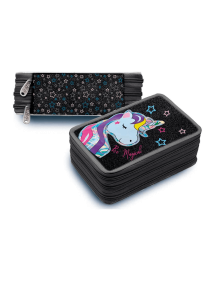 Astuccio Ovale Unicorn Glitter Nero