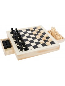 Set da gioco scacchi, dama e mulino