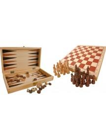 Giochi classici in valigetta di legno 3 in 1
