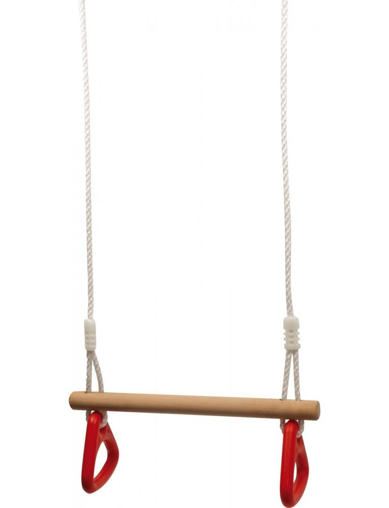 Altalena con anelli da ginnasta in legno