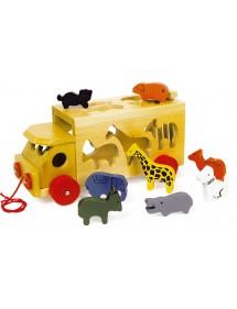 Carretto dello zoo con animali in legno