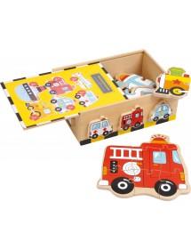 Puzzle in scatola Veicoli in legno