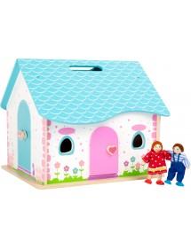 Casa delle bambole pieghevole in legno
